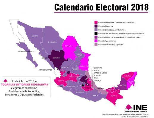 Mapa Calendario electoral 2018