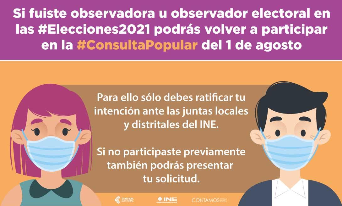 Si fuiste observador electoral en las elecciones 2021 podrás volver a participar en la Consulta Popular del 1 de agosto